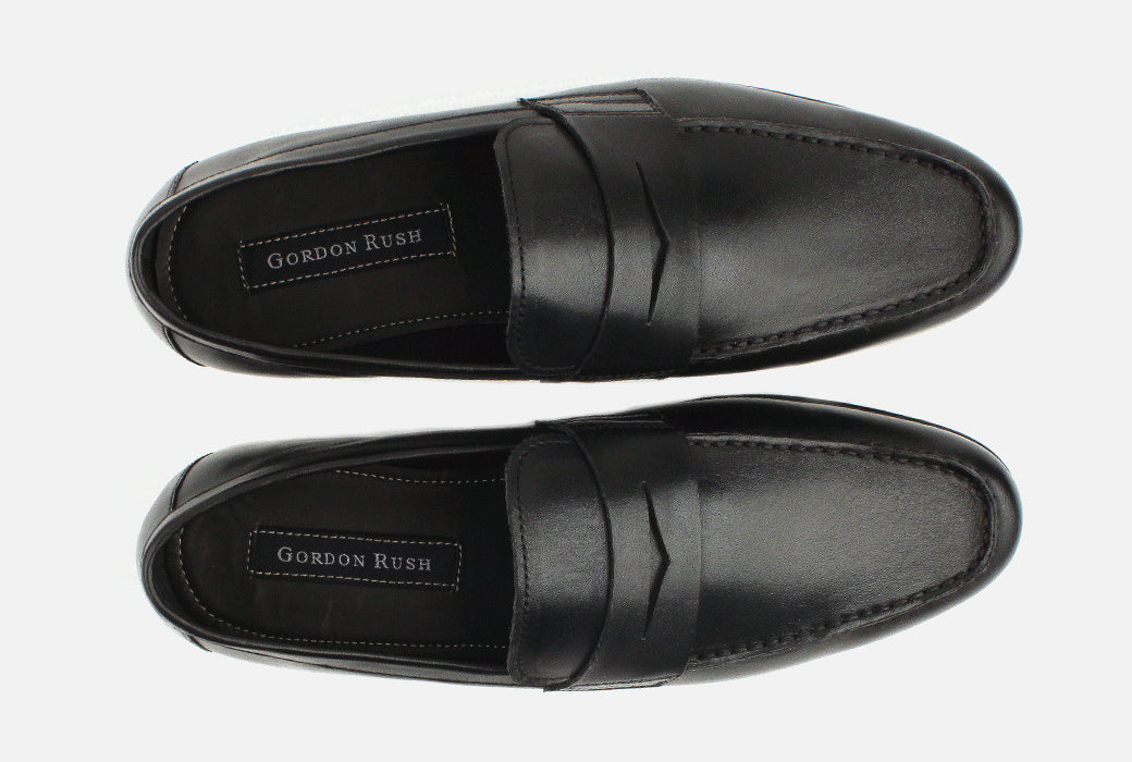 Gordon Rush Connery Penny Loafer Shoe Black Top View