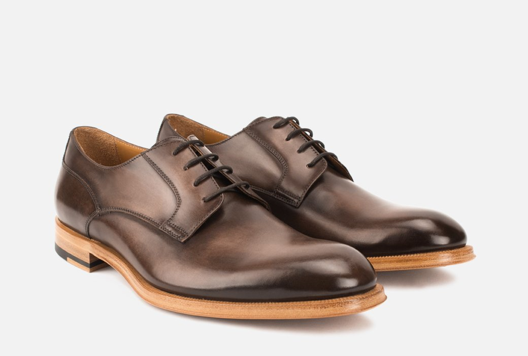 Devin/dark brown leather derby shoes/brown dress shoe/what shoes go with grey suit/dark brown derby