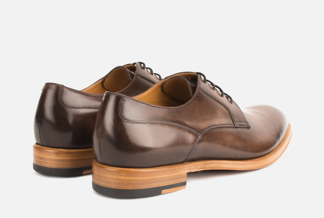 Gordon Rush Devin Derby Shoe Dark Brown Rear View Pair