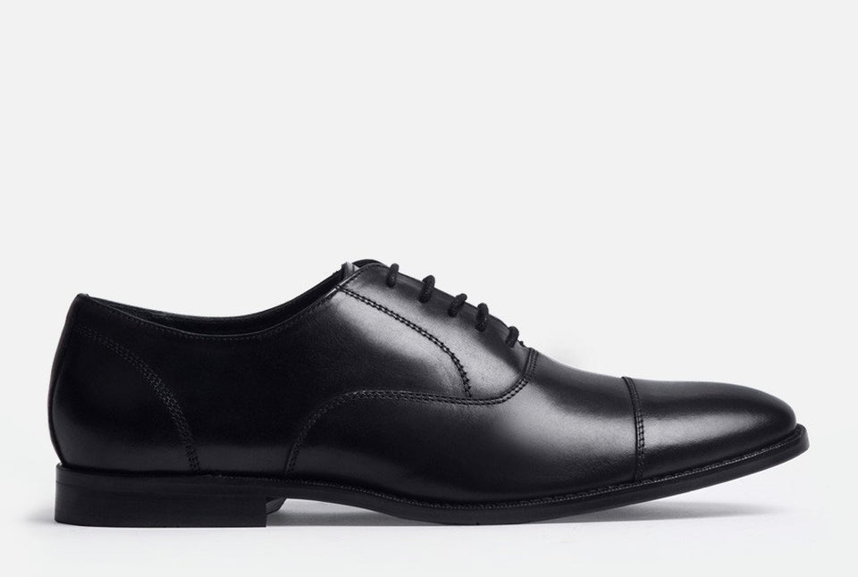 Dillon Black Leather Cap-toe Oxford