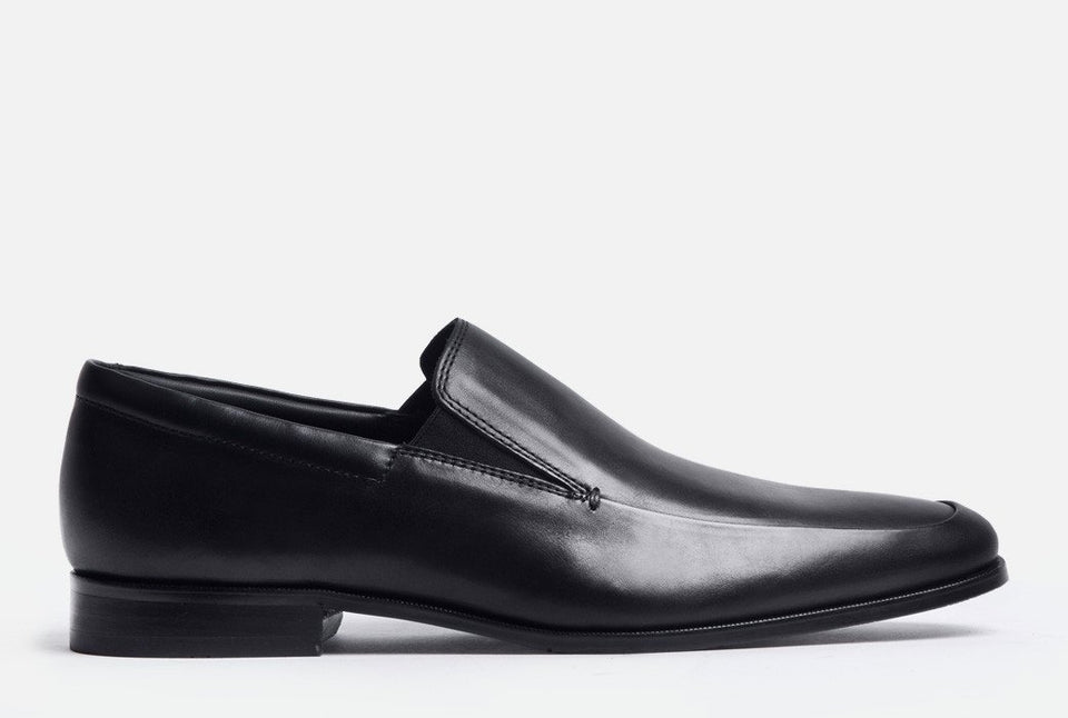 Elliot Black Leather Venetian Loafer