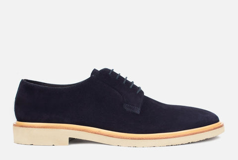 Mens Navy Suede Derby Shoe - Gordon Rush