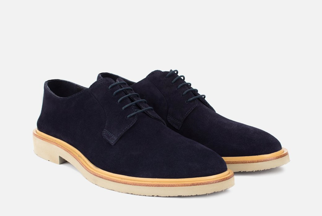 Gordon Rush Fletcher Derby Shoe Navy Suede Side View Pair