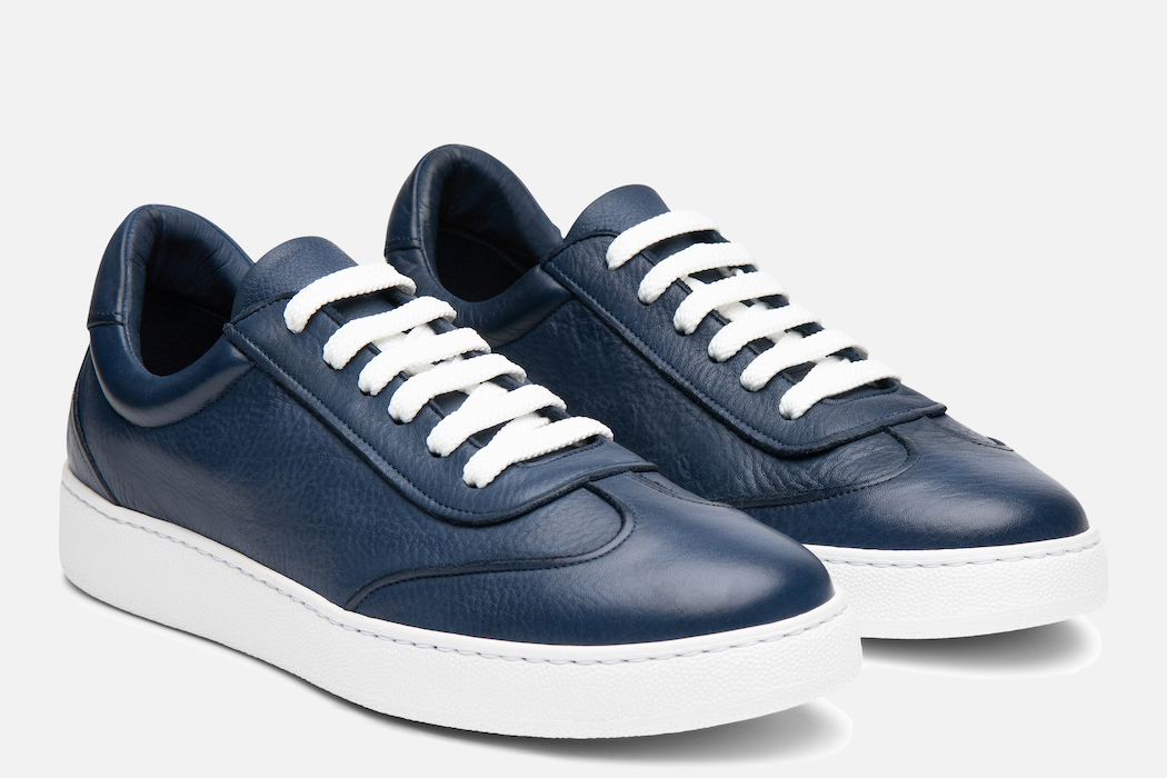 Gordon Rush Tristan Sneaker Shoe Navy Leather Side View Pair