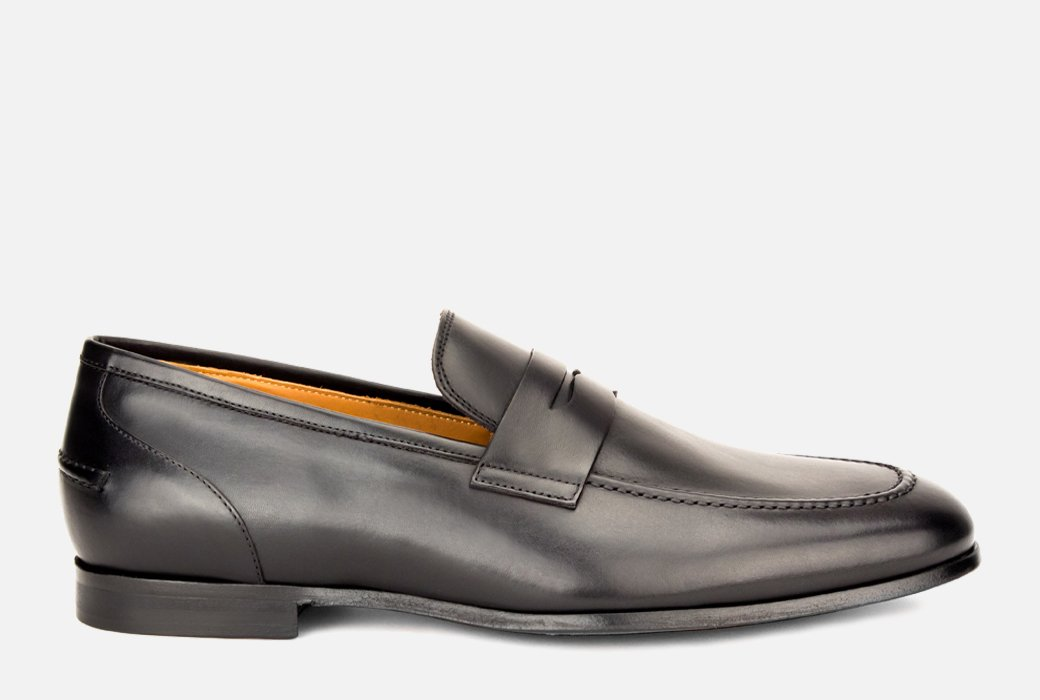 Gordon Rush Coleman Penny Loafer Shoe Black Leather Side View