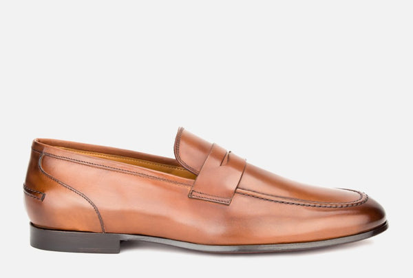 Gordon Rush Coleman Penny Loafer Shoe Tan Side View