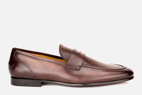 Mens formal penny loafer in brown leather | Gordon Rush Coleman