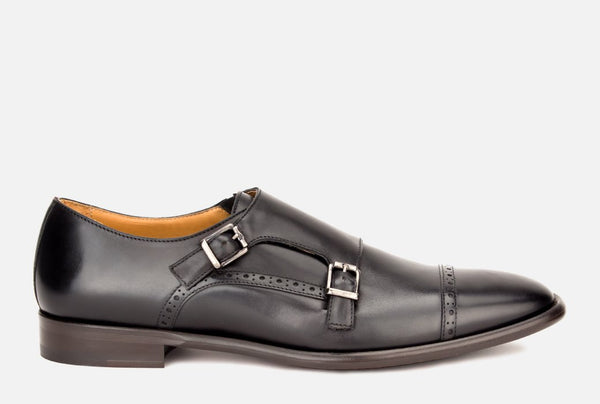 Mens Black Leather Monk Shoe