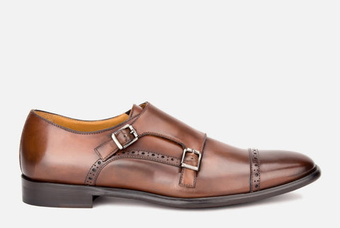 Corbett Brown Leather Monk Shoe
