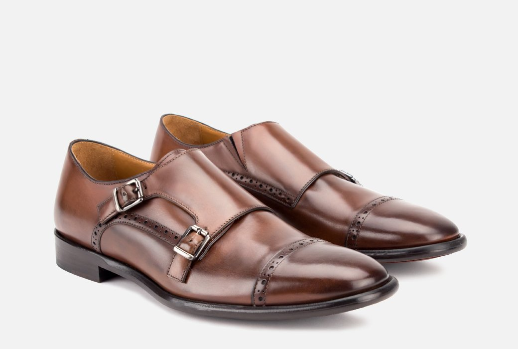 Gordon Rush Corbett Double Monkstrap Shoe Congnac Side View Pair
