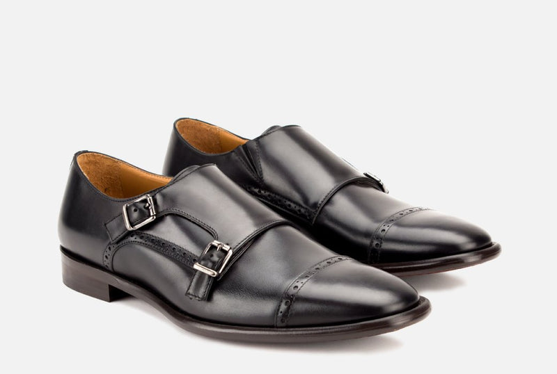 Mens Black Leather Monk Strap Shoe
