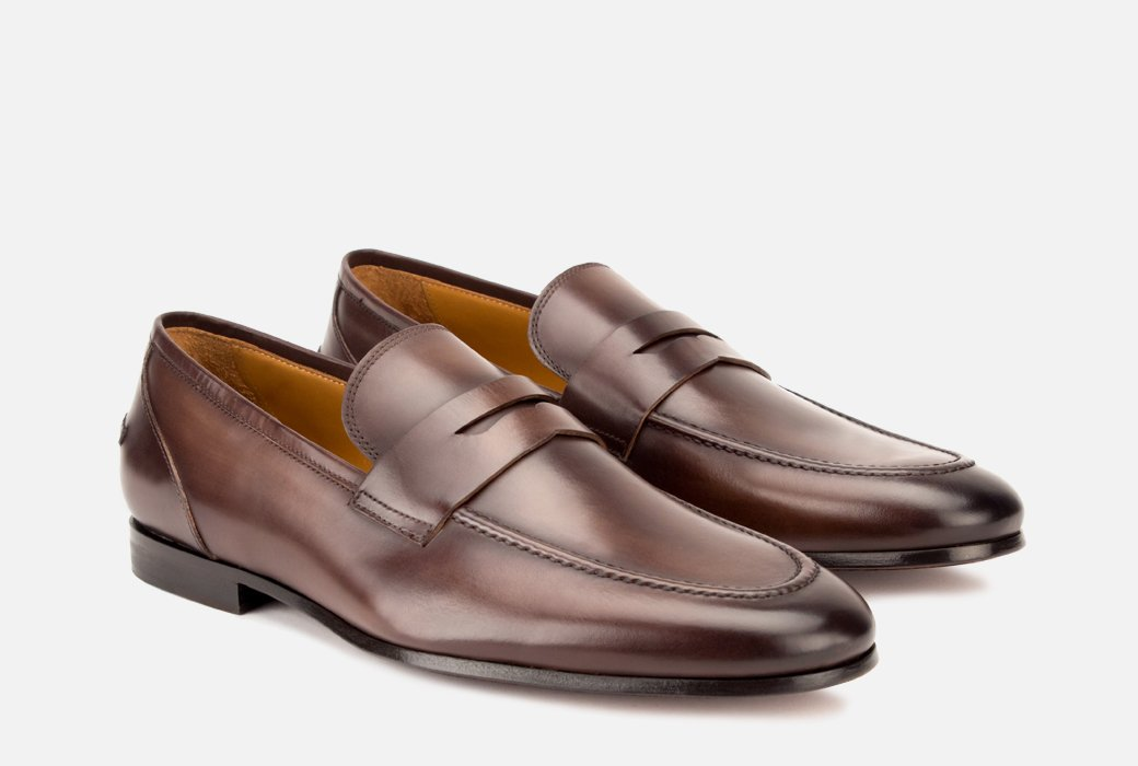 Gordon Rush Coleman Penny Loafer Shoe Brown Side View Pair