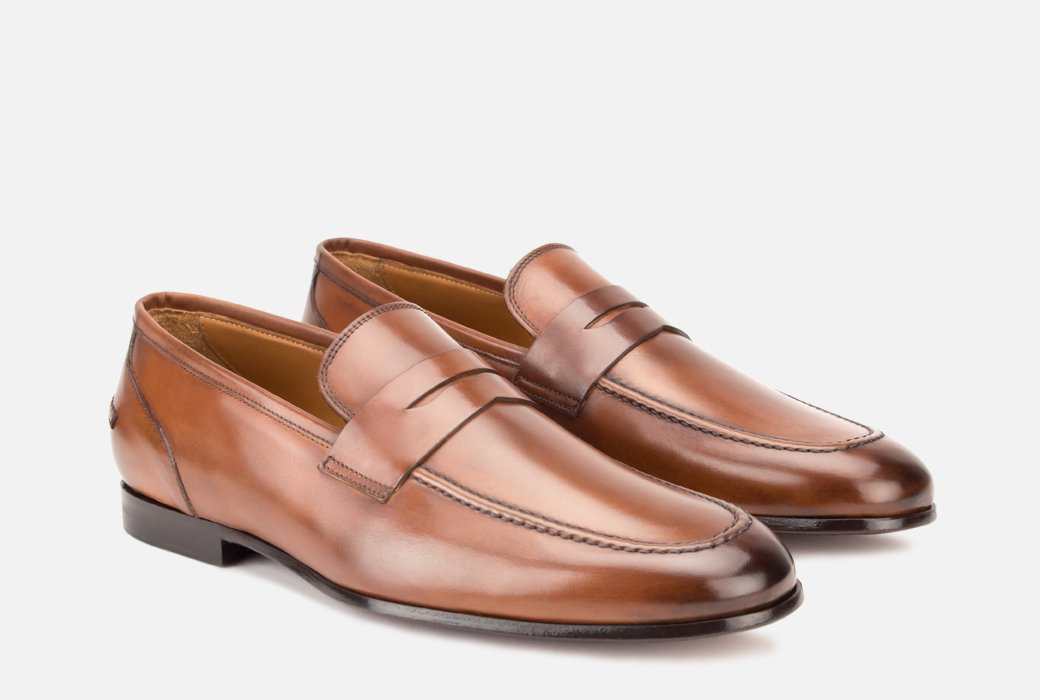 Gordon Rush Coleman Penny Loafer Shoe Tan Side View Pair