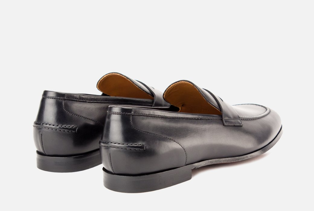 Gordon Rush Coleman Penny Loafer Shoe Black Rear View Pair