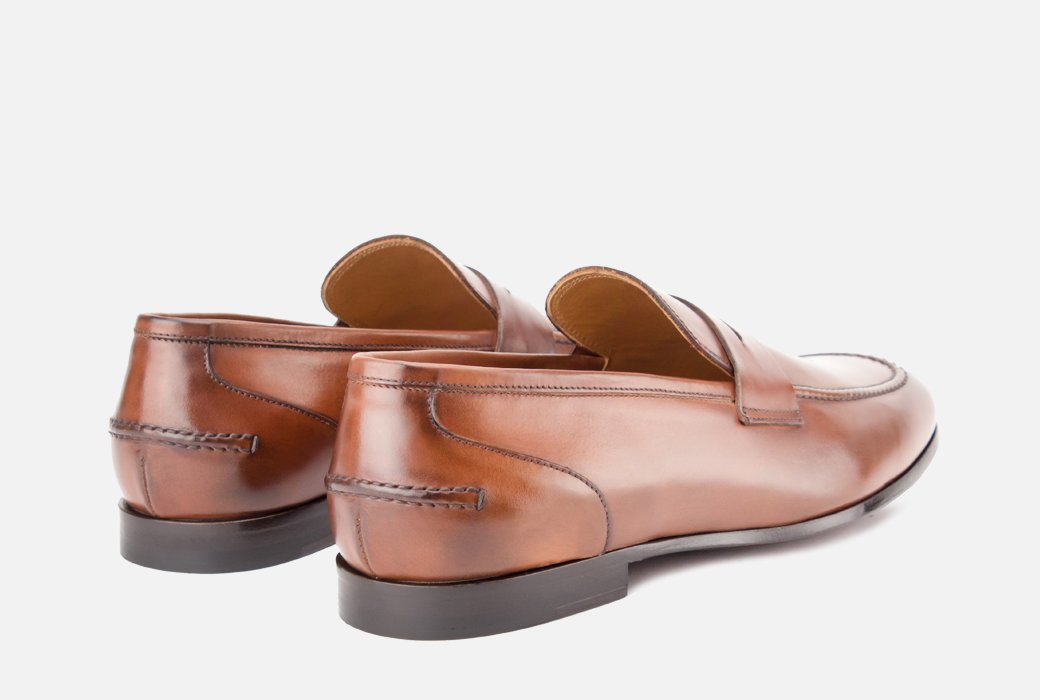 Gordon Rush Coleman Penny Loafer Shoe Tan Rear View Pair