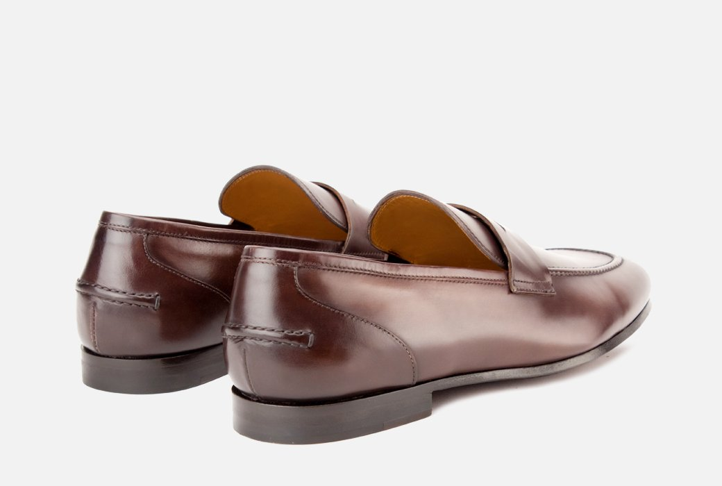 Gordon Rush Coleman Penny Loafer Shoe Brown Rear View Pair