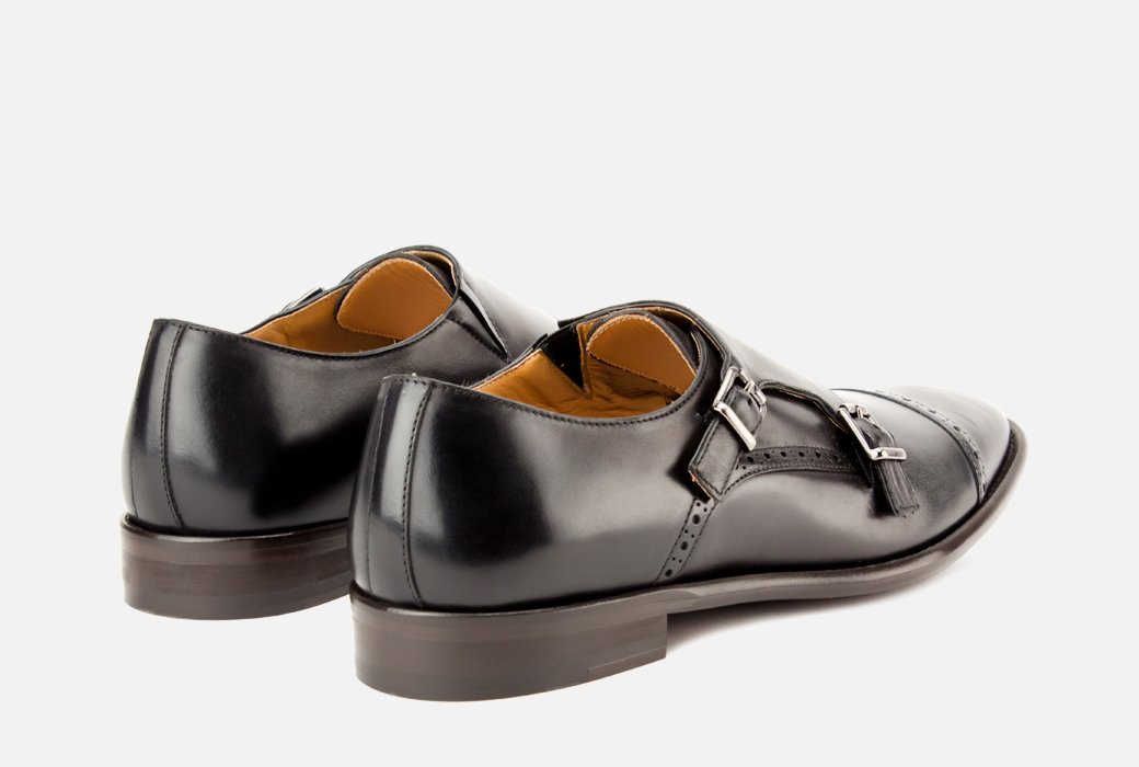 Gordon Rush Corbett Double Monkstrap Shoe Black Rear View Pair
