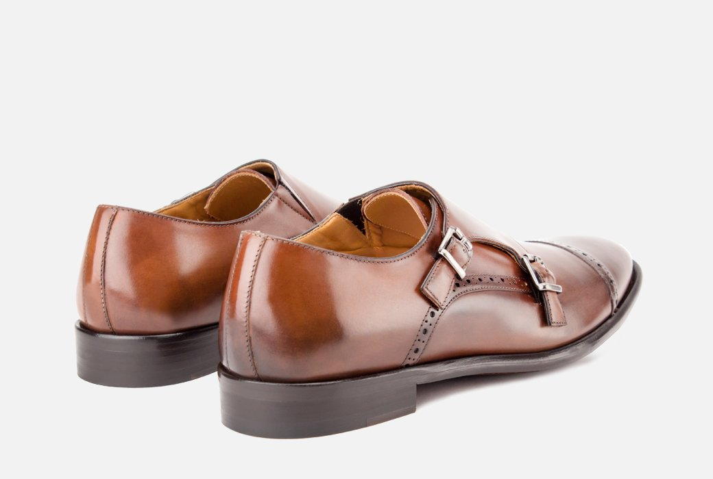 Gordon Rush Corbett Double Monkstrap Shoe Congnac Rear View Pair