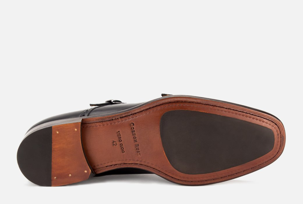 Gordon Rush Corbett Double Monkstrap Shoe Black Bottom View