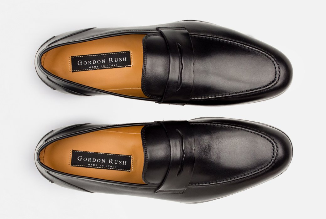 Gordon Rush Coleman Penny Loafer Shoe Black Top View