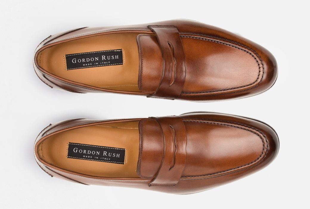 Gordon Rush Coleman Penny Loafer Shoe Tan Top View