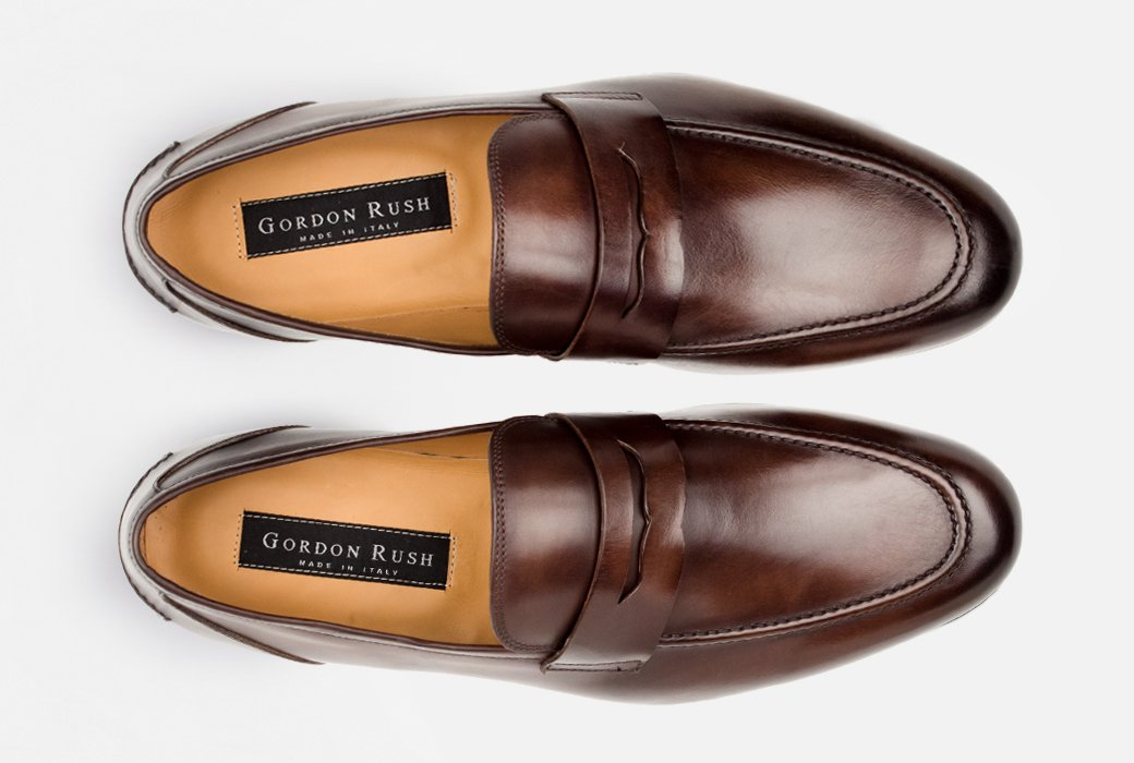 Gordon Rush Coleman Penny Loafer Shoe Brown Top View