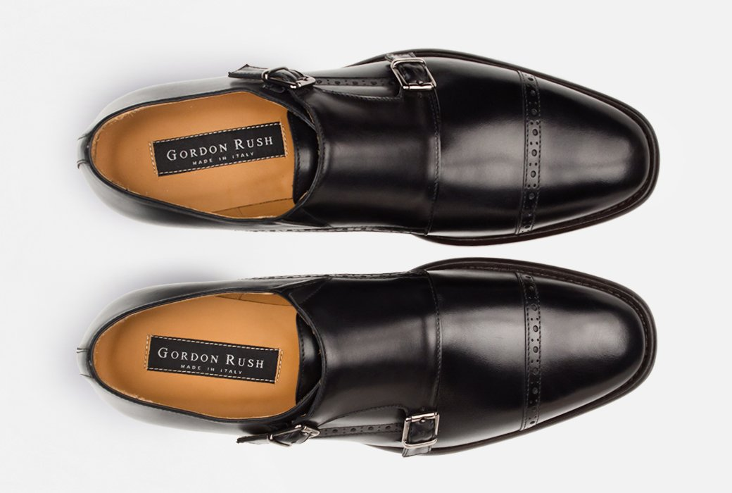 Gordon Rush Corbett Double Monkstrap Shoe Black Top View