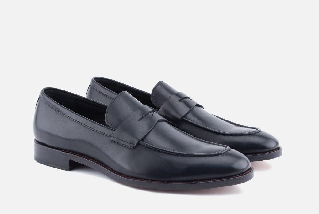 Gordon Rush Henderson Penny Loafer Shoe Black Side View Pair