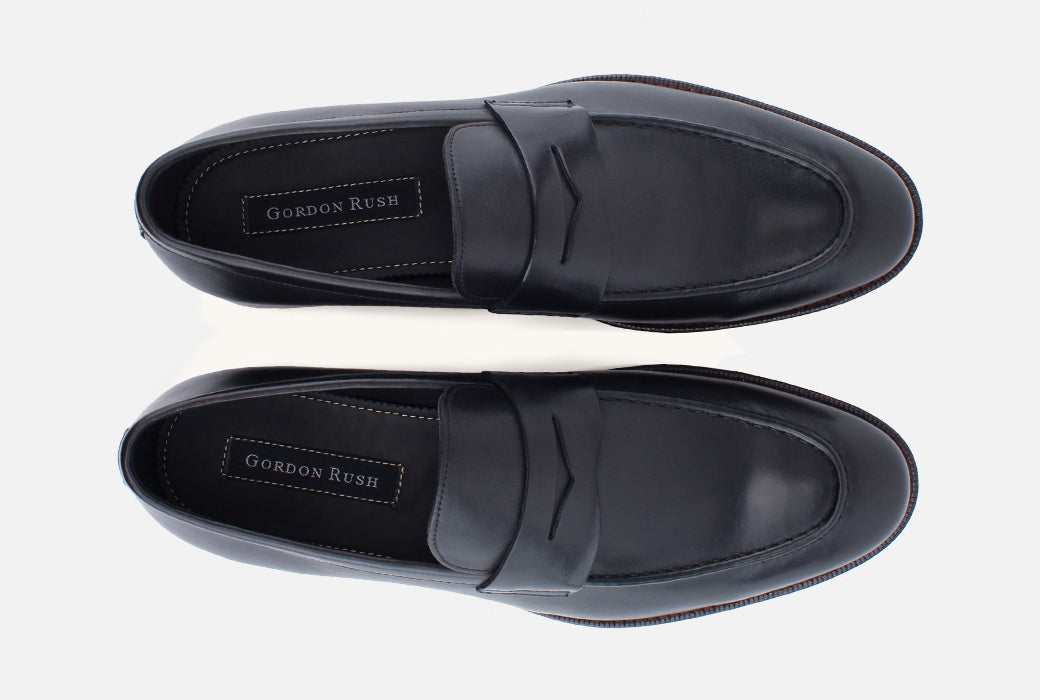 Gordon Rush Henderson Penny Loafer Shoe Black Top View