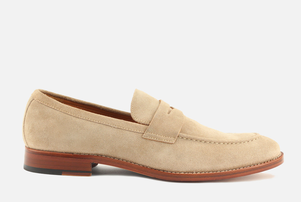 Gordon Rush Henderson Penny Loafer Shoe Sand Suede Side View