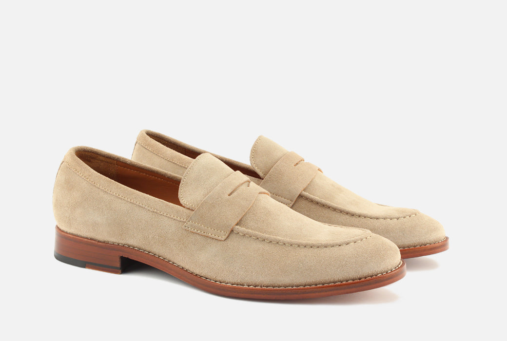 Gordon Rush Henderson Penny Loafer Shoe Sand Suede Side View Pair