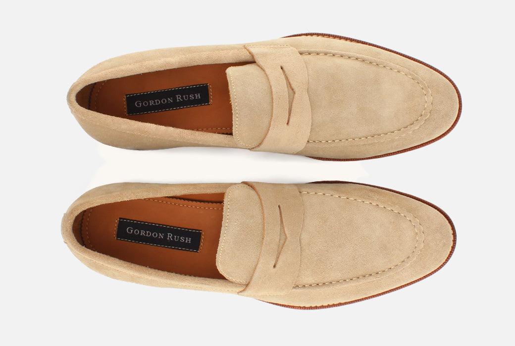 Gordon Rush Henderson Penny Loafer Shoe Sand Suede Top View