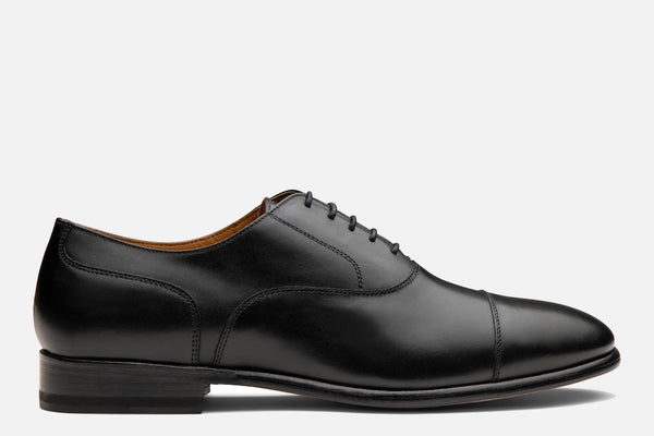 Gordon Rush Jeffrey Cap-Toe Oxford in Black Side View