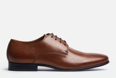 Gordon Rush Manning Plain Toe Lace-Up Derby in Cognac