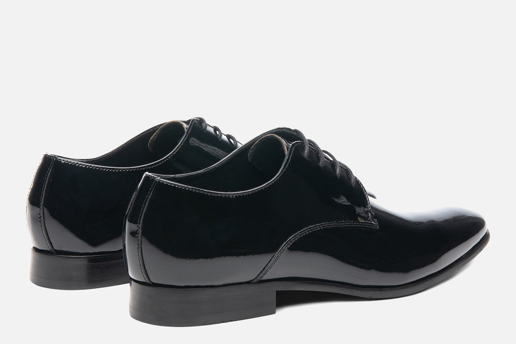 Gordon Rush Manning Derby Shoe Black Patent Rear View Pair