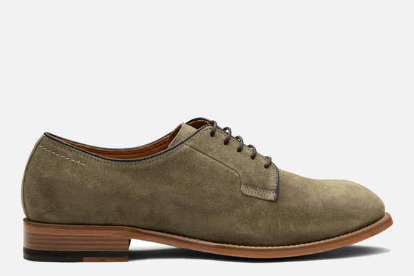 Gordon Rush Marcus Derby Shoe in Olive Suede Side View