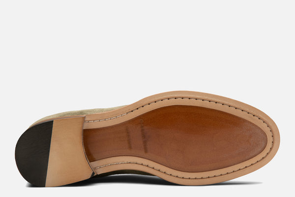 Gordon Rush Marcus Derby Shoe in Olive Suede Bottom View