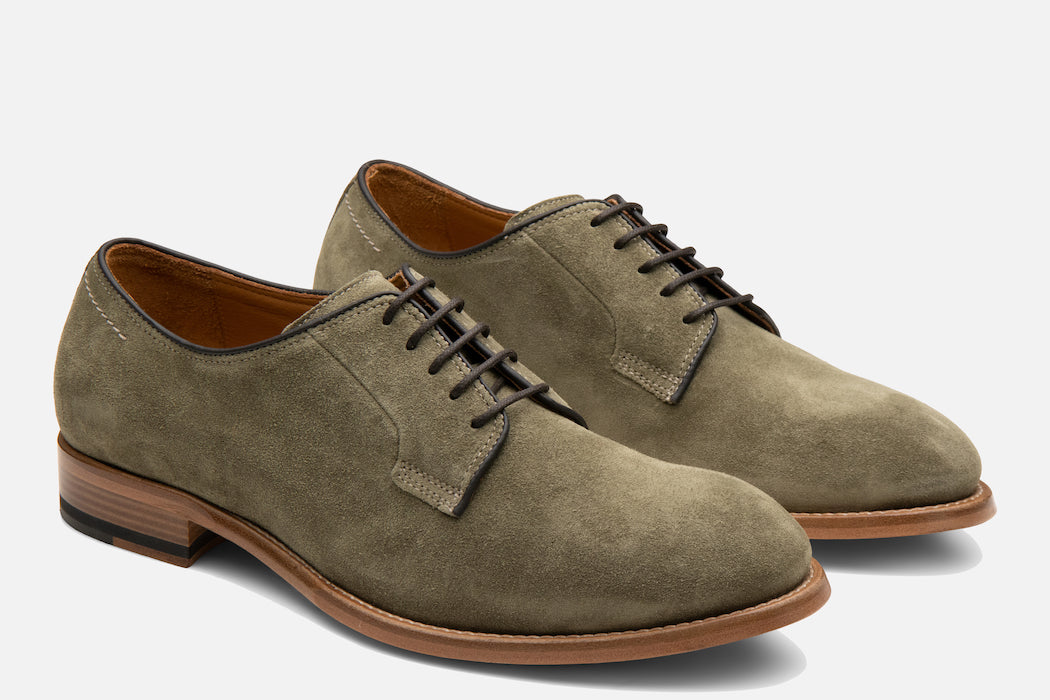 Gordon Rush Marcus Derby Shoe in Olive Suede Side View Pair