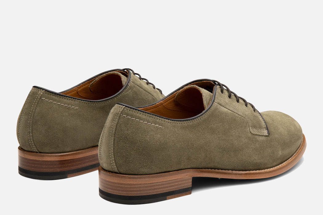 Gordon Rush Marcus Derby Shoe in Olive Suede Rear View Pair
