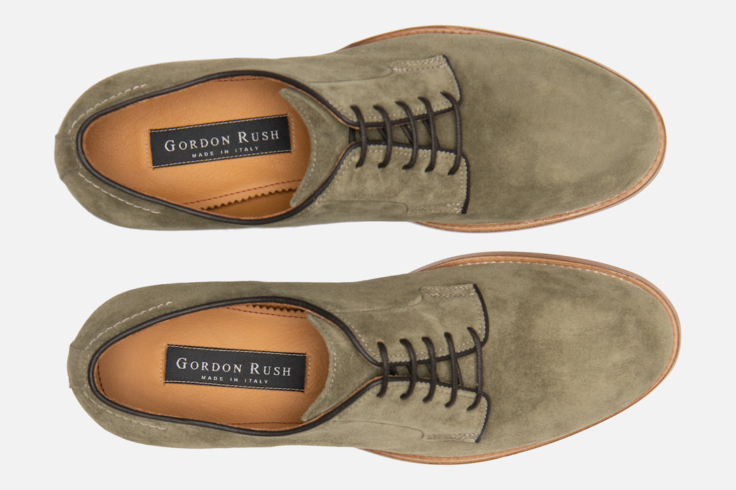 Gordon Rush Marcus Derby Shoe in Olive Suede Top View