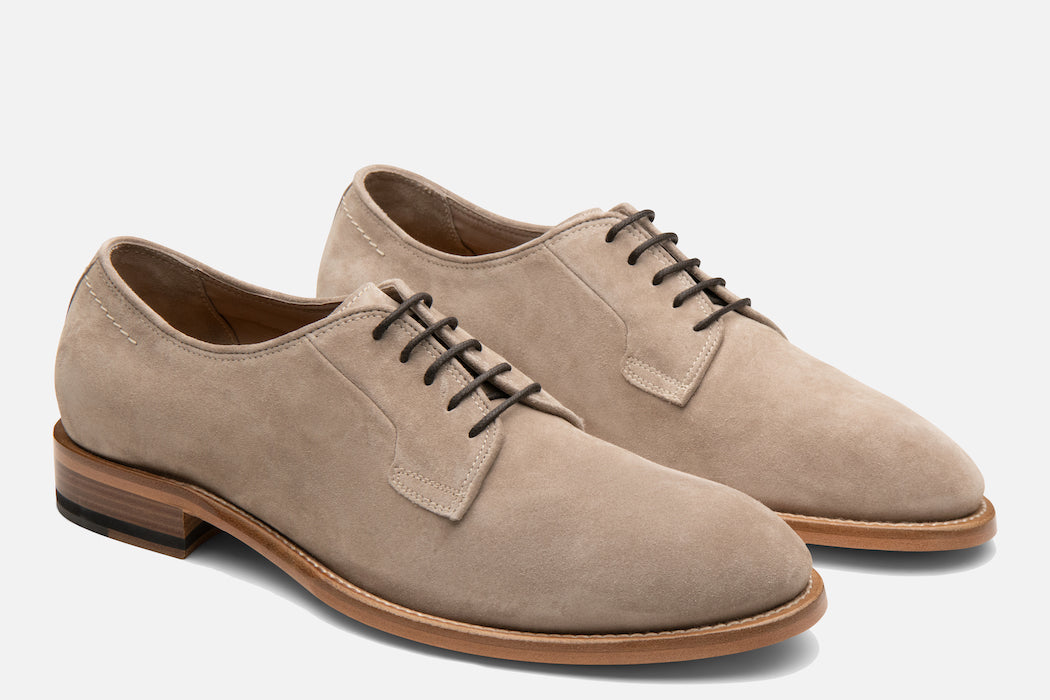 Gordon Rush Marcus Derby Shoe Shiitake Suede Side View Pair