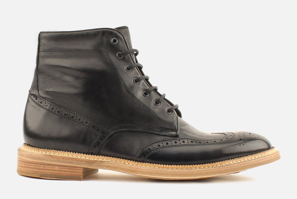 Max Black Leather Wingtip Boots