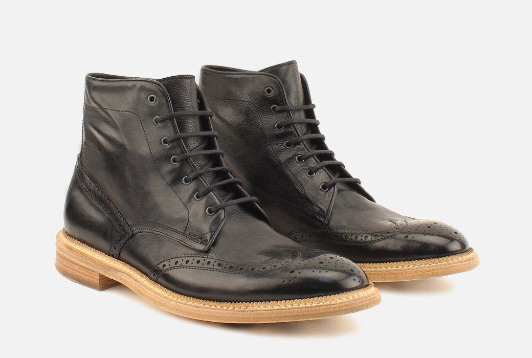 Gordon Rush Max Wingtip Boot Black Side View Pair
