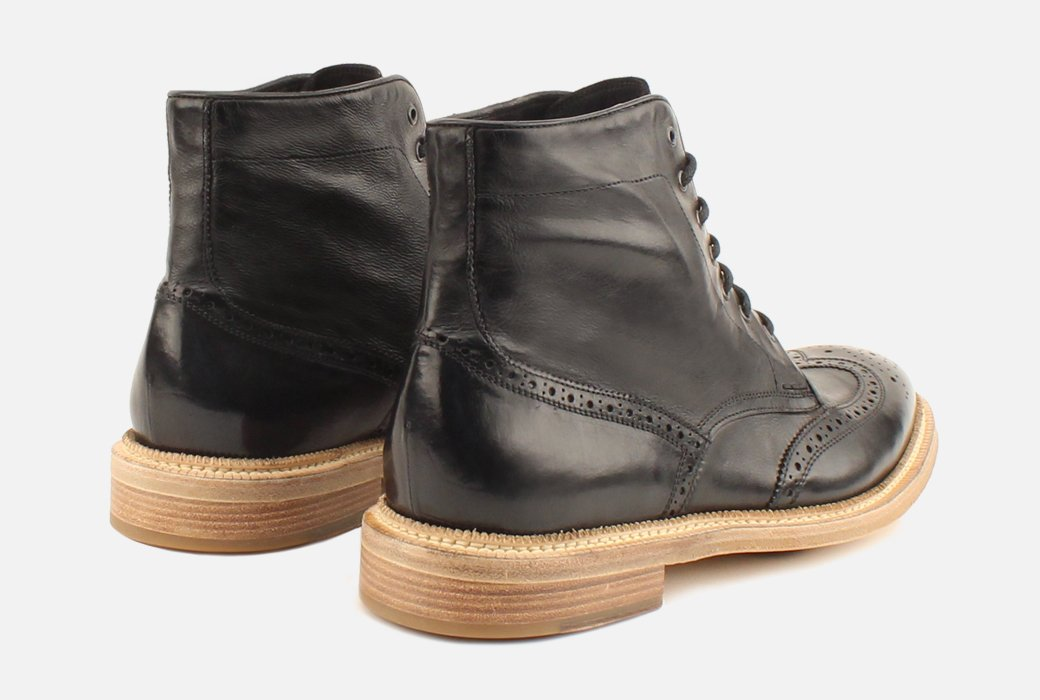 Gordon Rush Max Wingtip Boot Black Rear View Pair