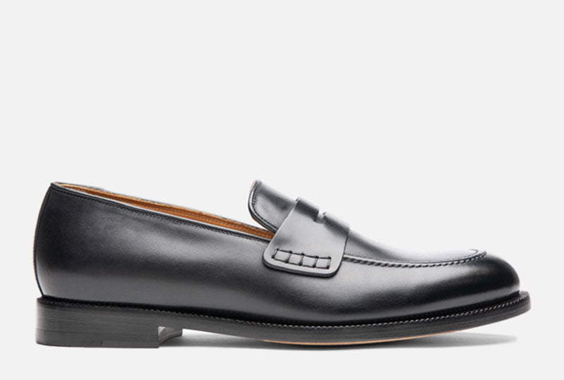 Gordon Rush Nicholas Penny Loafer Shoe Black Side View