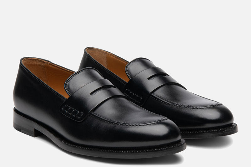 Gordon Rush Nicholas Penny Loafer Shoe Black Side View Pair