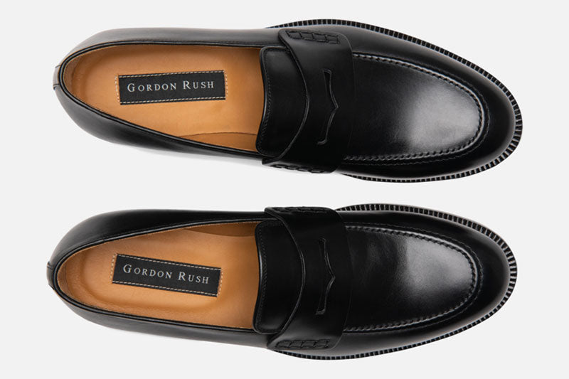 Gordon Rush Nicholas Penny Loafer Shoe Black Top View