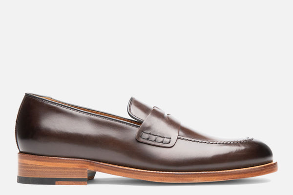 Gordon Rush Nicholas Penny Loafer Shoe Dark Brown Side View