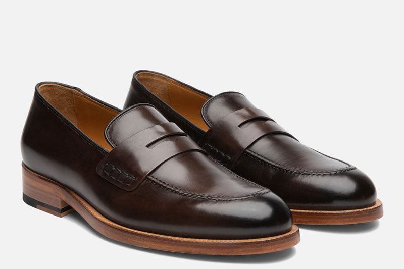 Gordon Rush Nicholas Penny Loafer Shoe Dark Brown Side View Pair