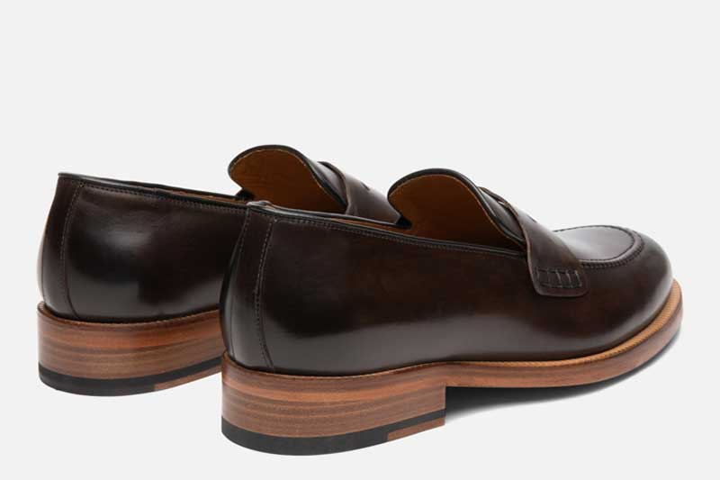 Gordon Rush Nicholas Penny Loafer Shoe Dark Brown Rear View Pair